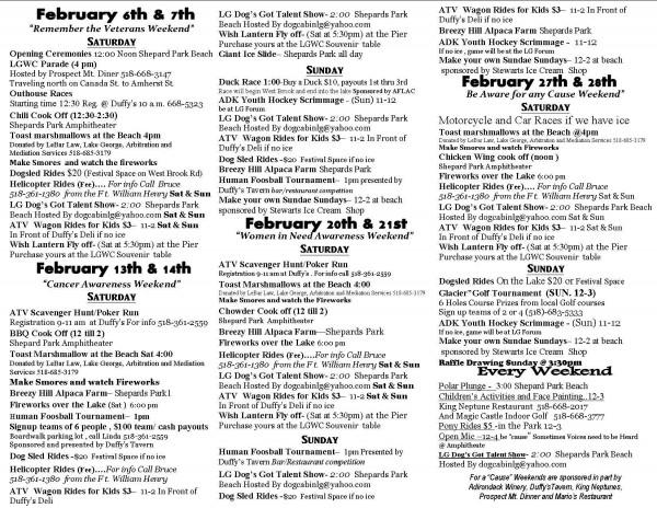 2016 Winter Carnival Events