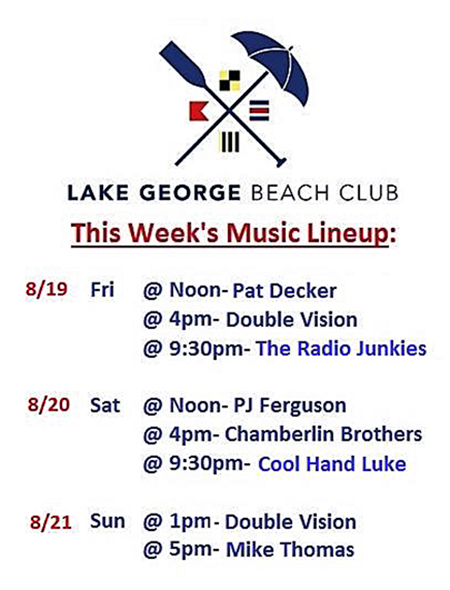 Beach Club Gigs August 19th 2016